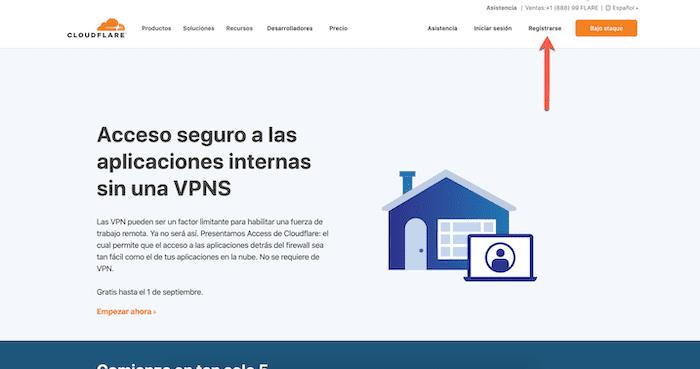 1 cloudflare website - registrarse