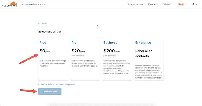 5 selecciona el plan de cloudflare