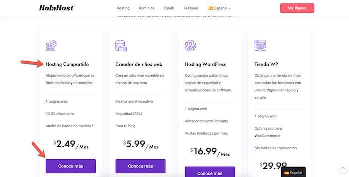 escoge el hosting compartido